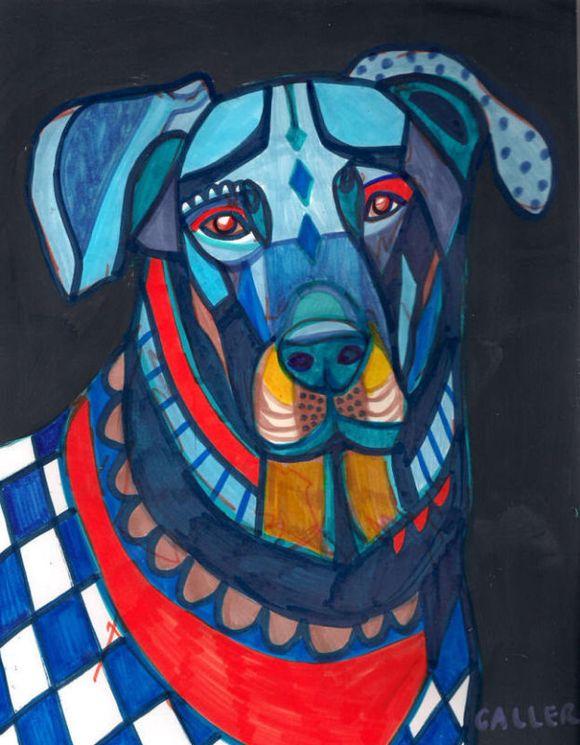 Painting Blue Dog Blue Pop Art Painting