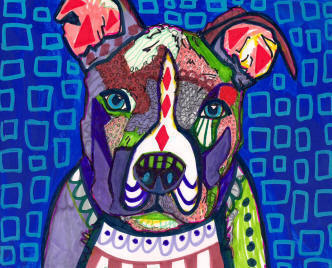 Heather Galler Dog Art American Pit Bull Terrier Dog Art - Bull terrier art
