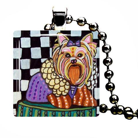 Yorkie pendant yorkshire terrier dog art jewelry by collectartwork yorkie pendant yorkshire terrier dog art jewelry aloadofball Gallery